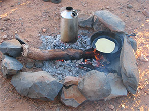 Bush cooking on the road